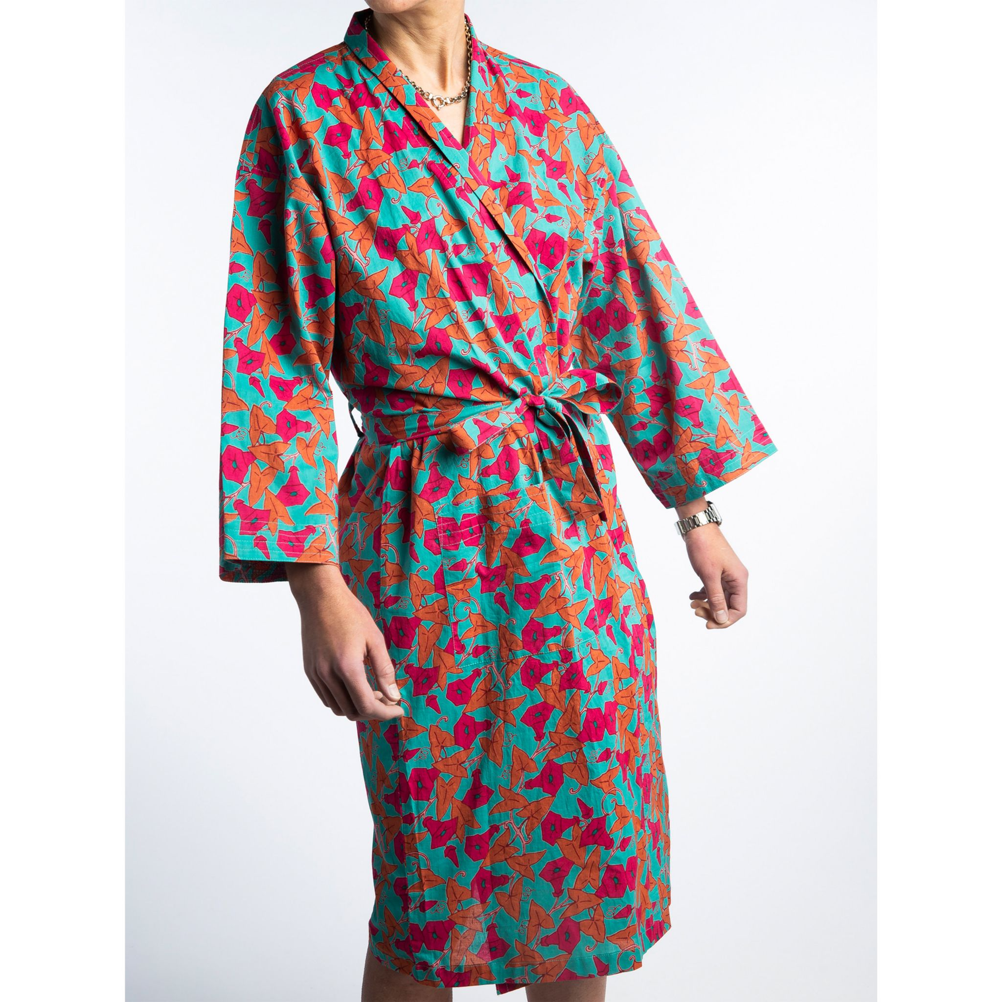 Printed Cotton Robe - Ipomee Turquoise