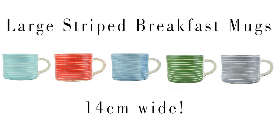 Large striped breakfast mugs banner
